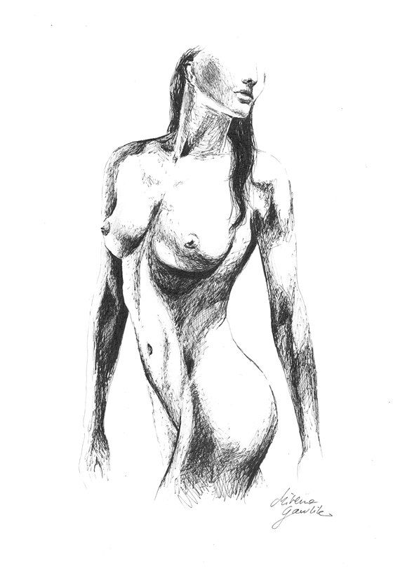 Female Nude 15 -  Fine Art Print after an original drawing by Milena Gawlik, Black & White, sensual nude