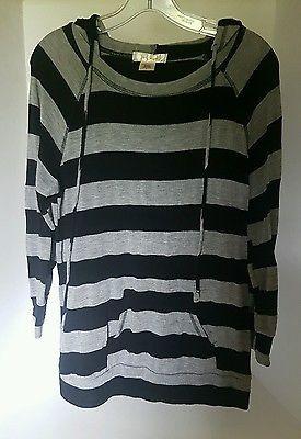 Women's La Vie 89 Nautical Black Gray Striped Strechy Hoodie Sweater USA Large L