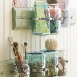 TONS of great ideas on this website...Jar Crafts, Crafts Room, Crafts Storage, Craftsroom, Room Storage, Mason Jars Crafts, Storage Ideas, Mason Jar Storage, Craft Rooms