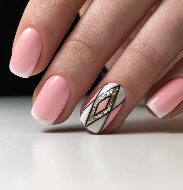 Pink and White French Manicure with Glittered Pattern. Want French Manicure with some tweaks? Check this amazing one out!