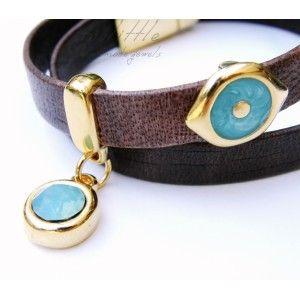 Brown Evil Eye & Swarovski Stone Bracelet #leather bracelet