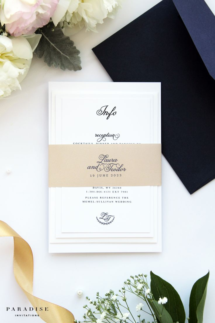 Laura Champagne and Navy Wedding Invitation Sets Wedding Stationery Calligraphy Invitations Printable Wedding Invitations