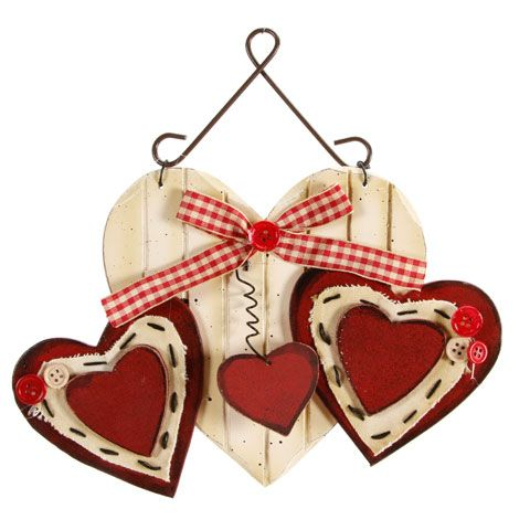 "Primitive Wood Hearts Wall Hanging Decor (Set of 2) 10"" x 6.5"" x 0.5"""