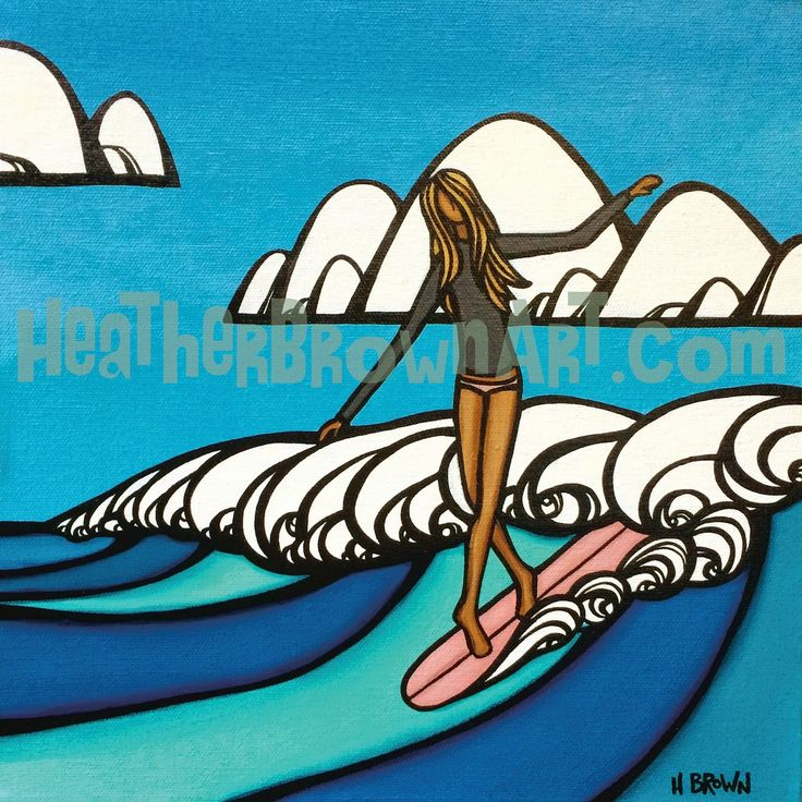 Surf Girl Original by Heather Brown www.HeatherBrownArt.com