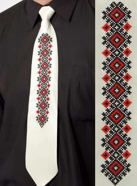 White tie with traditional embroidery