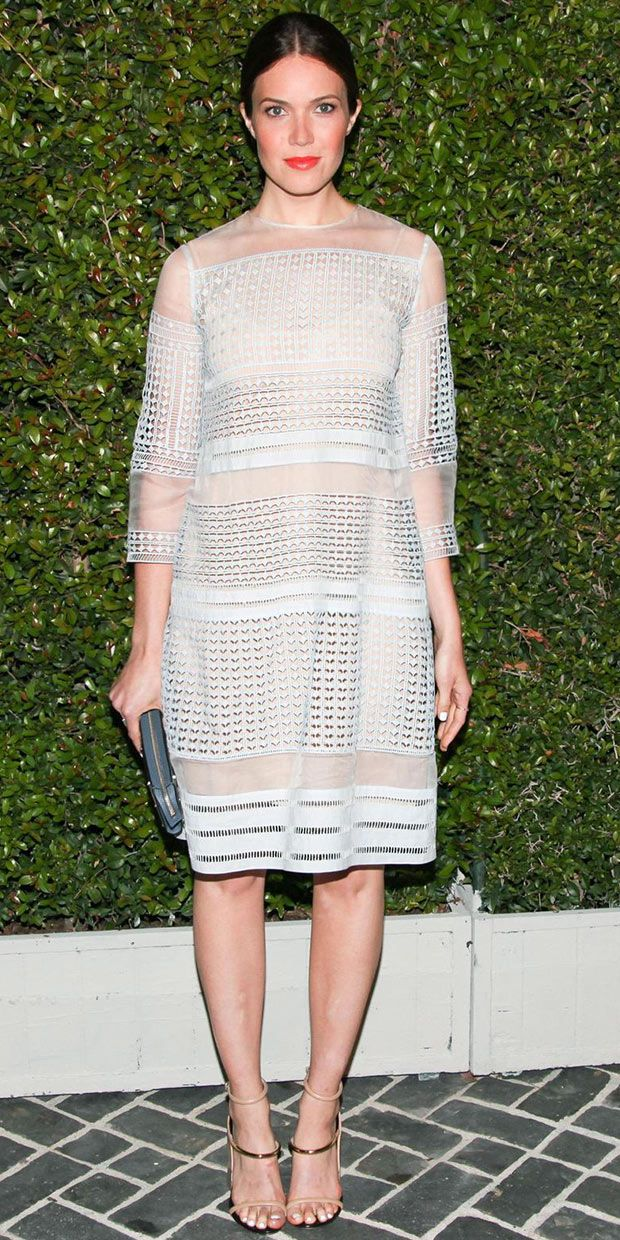 Mandy Moore arrives at the Chloe fashion show in Los Angeles wearing Chloe dress from the S/S 14 collection, Chloe Brendy Clutch  and Chloe sandals