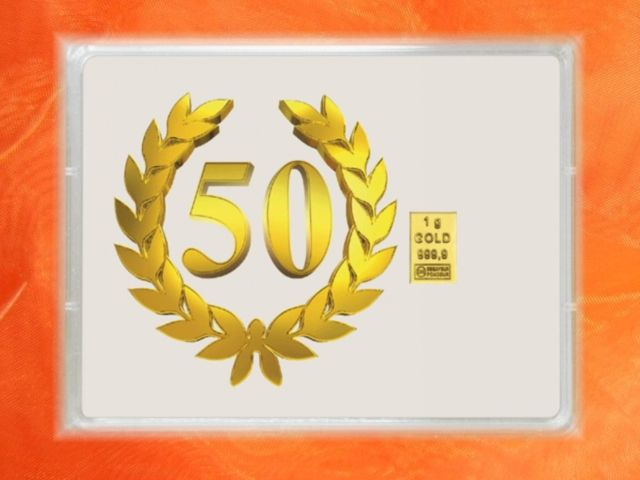 1g Goldbarren zum 50. Geburtstag