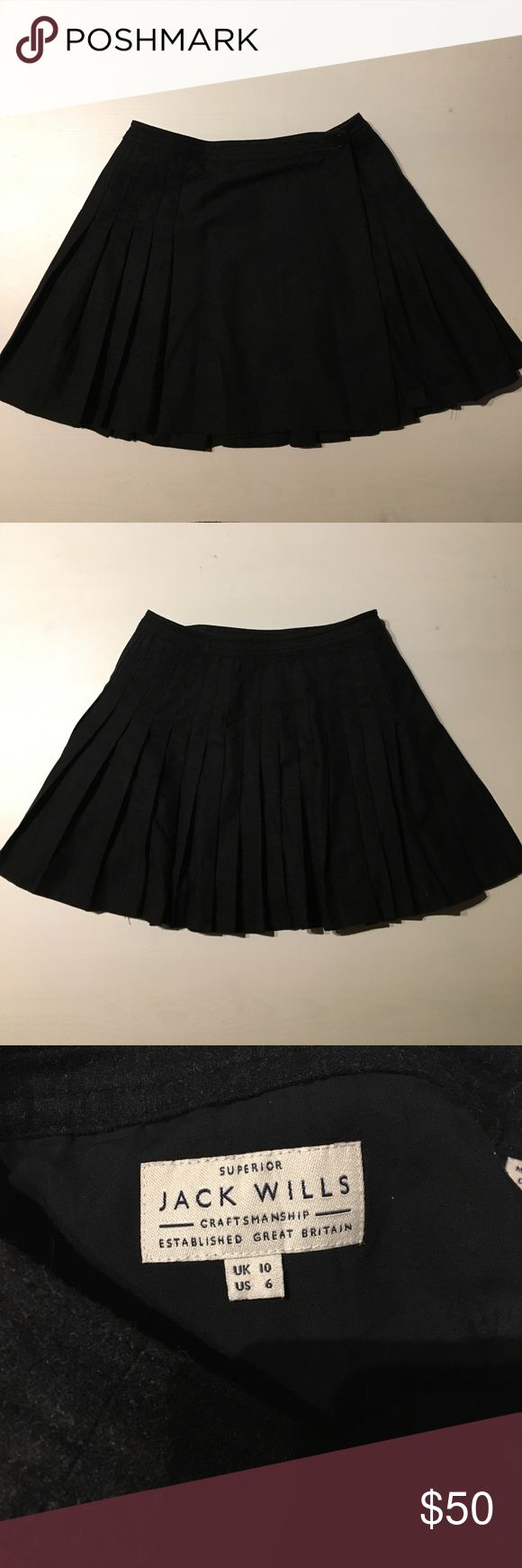 Jack Wills Black Wool Skirt - Size 6 Cute black skirt from Jack Wills in size 6. Warm and stylish. Excellent condition! Jack Wills Skirts Mini