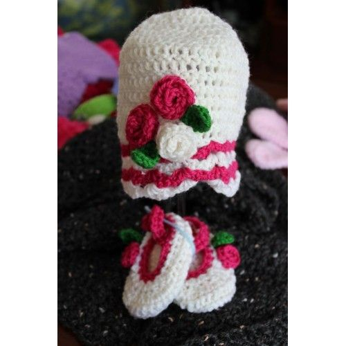 Pink Rose shell hat and Mary jane set: 3 month