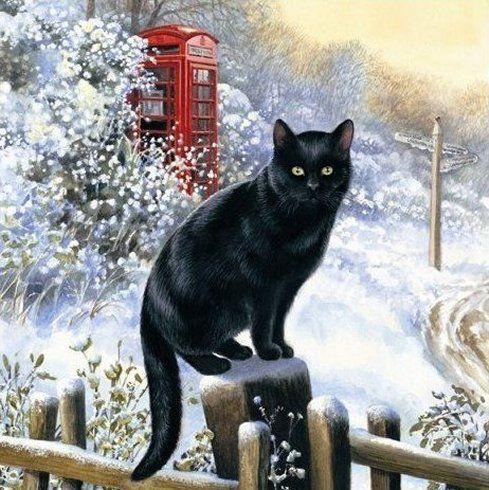 Snow Falling Desktop Wallpaper Chrissie Snelling Christmas Artistic Cats Cats