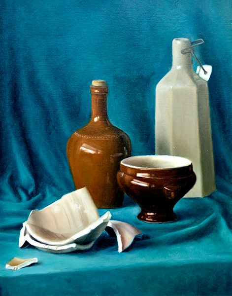 Ceramic Jars: Oil onto Linen Paper