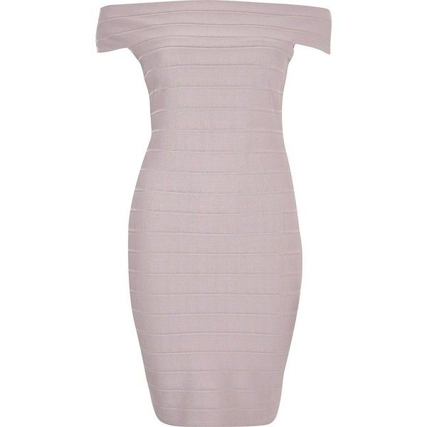 River Island Petite grey bardot bandage bodycon dress ($30) ❤ liked on Polyvore featuring dresses, bodycon dress, petite bodycon dresses, mini dress, body con dress and gray bodycon dress
