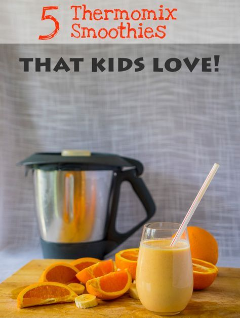 Five Thermomix Smoothies That Kids Love.  These are the smoothies that are on high rotation with my family of six. All super healthy and nutrition-packed.    We use the Thermomix to blend them up super fast. But in fact they can be made in any good blender.   Check the blog post for all the recipes. Great breakfasts and great way to start the day.