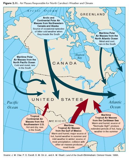 Map of air masses that affect North America and where they