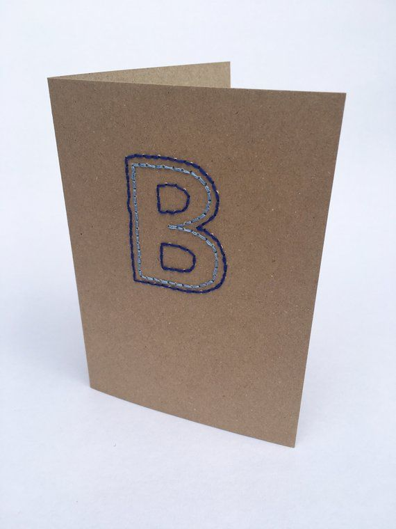 Monogram Greeting Card Letter B Hand Stitched Birthday Personalized Luxury Rustic Note Occasion Cards