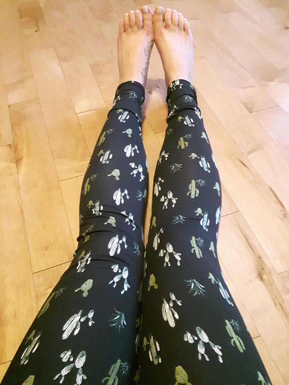 Leggings cactus noir et vert pour femme en polyester brossé