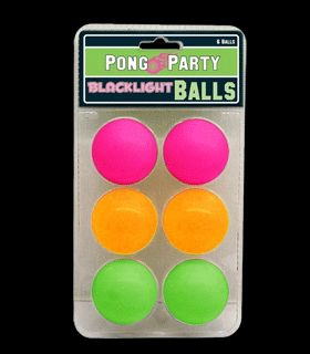 ID79094 - Pong Party Blacklight Reactive Balls - 6 Pack