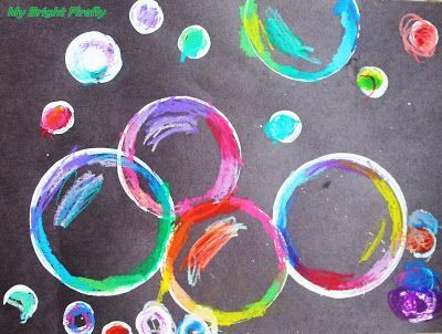 My Bright Firefly: Bubbles Art Project Using Oil Pastels and Paint
