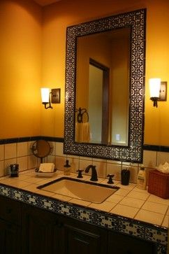 Gallery For Photographers Mediterranean Bathroom Mirror Design Pictures Remodel Decor and Ideas I like the mirror but the tile doesn ut work