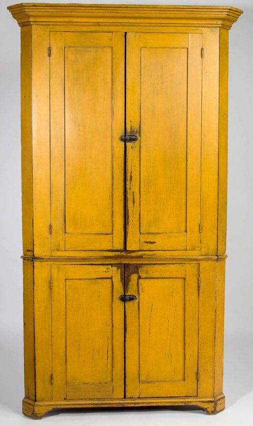 Sold $5,500 SOMERSET CO., PENNSYLVANIA PAINTED PINE CORNER CUPBOARD,  two-piece construction, well-executed molded cornice above two paneled  doors in upper ... - 125 Best Pennsylvania Cupboards Images On Pinterest Country