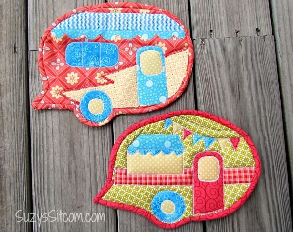 Caravan Pot Holder Pattern - How to make a pot holder with free quilting patterns. Great summer craft ideas!