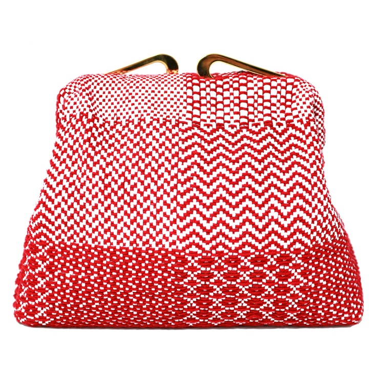 Maria La Rosa Torre Red and White Woven Bag