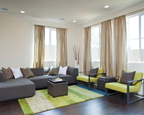 , Contemporary Living Room With Awesome Lime Green Armchair Also Brown Modern Couch And Small Square Coffee Table Also Adorable Lime Green Carpet Also Brown Laminate Floor Also Light Brown: Fresh Lime Green Kitchen Accessories, Appliances, and Furniture