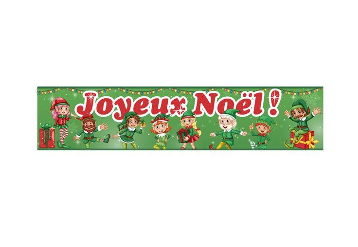 "BANNIERE JOYEUX NOEL - LUTIN VERT 10""X45"""