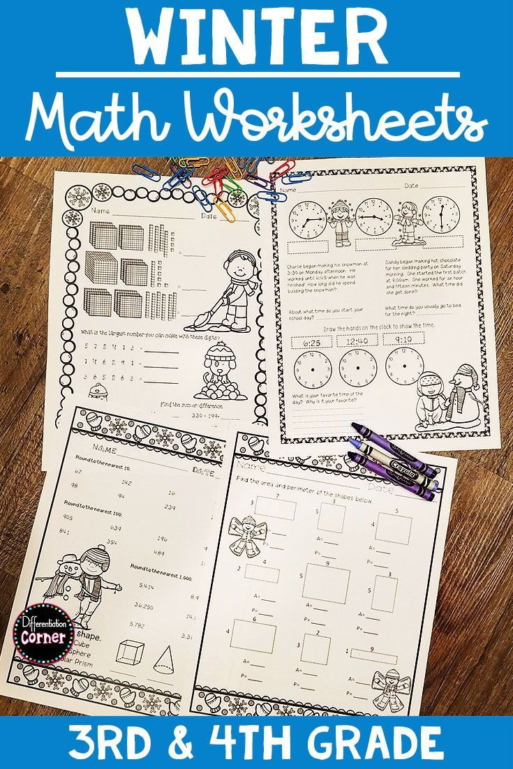 Are you ready for winter? This fun worksheet pack includes a variety of 3rd  grade and 4th grade math …   Winter math worksheets [ 1102 x 735 Pixel ]