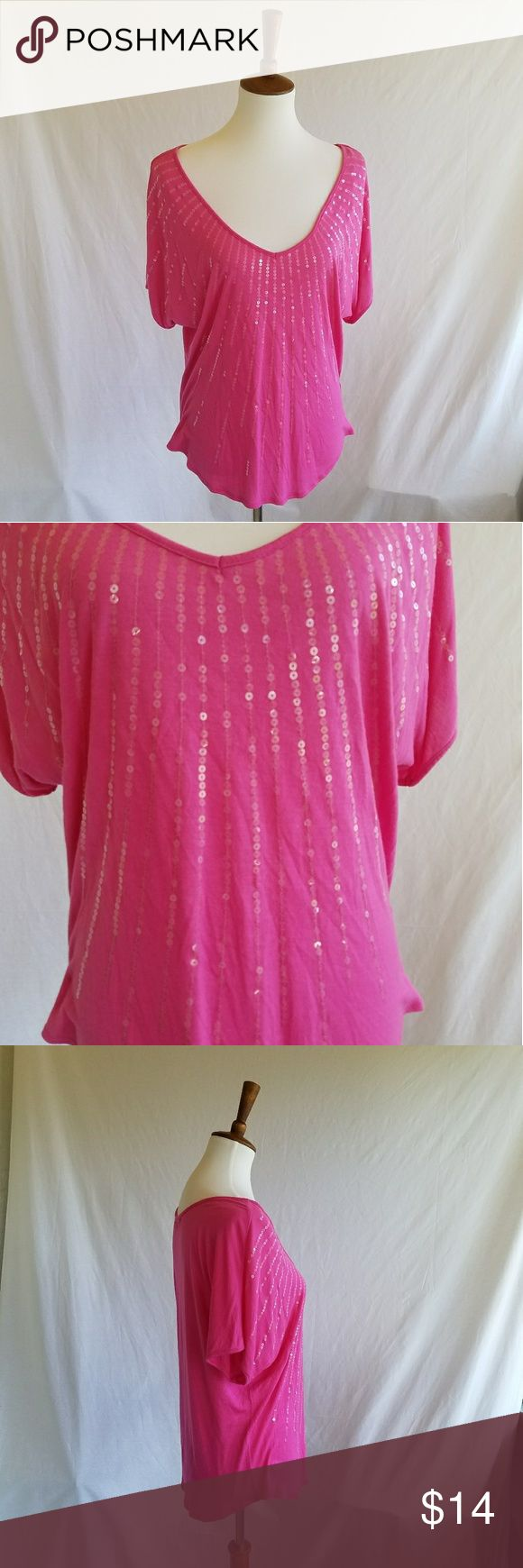 Maurices Pink Sequin Slouchy Top Gently used .  Soft . Stretch .  #050506 Maurices Tops Tees - Short Sleeve