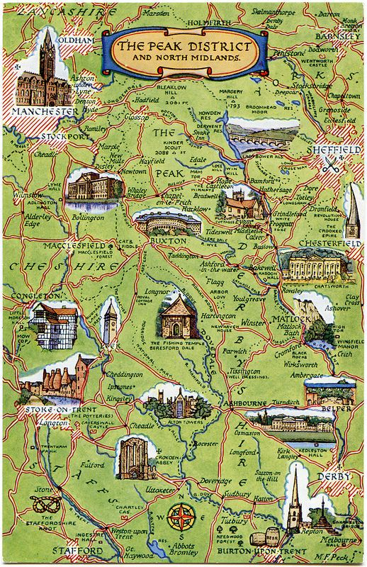 Map Of England Derbyshire.Postcard Map Of The Peak District And North Midlands In 2019