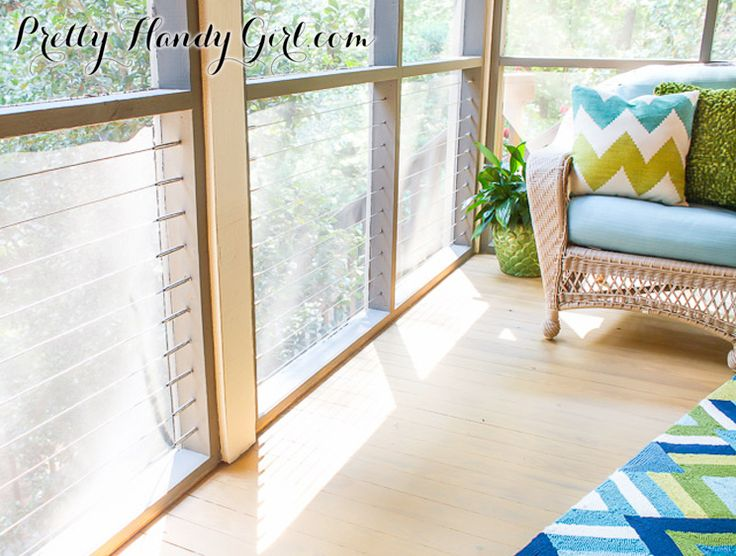 Prominent DIY blogger, Pretty Handy Girl: CableRail in a screened porch DIY