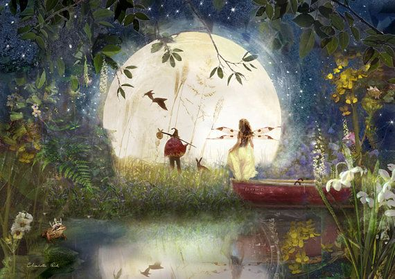 Fary Tale .. Fairy Print Mounted or unmounted or two sizes of plaques to choose from-All  signed  By Charlotte Bird