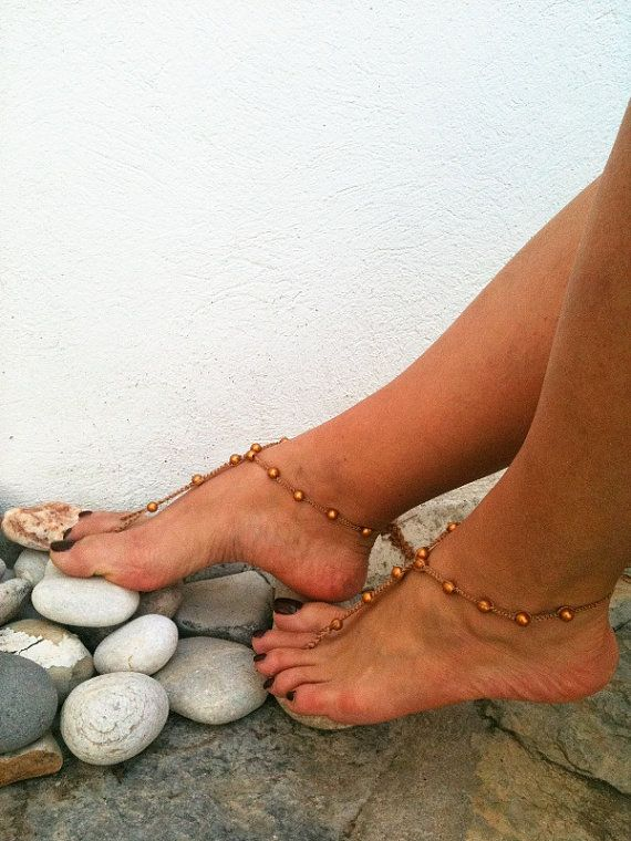 Brown beads  macrame Foot jewelry Anklet Nude by ArtofAccessory, $15.00