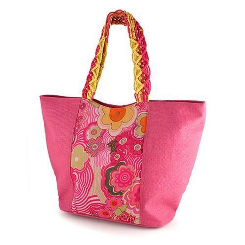 BORSA OLGA  -  Graziosa borsa in juta con inserto in chiffon stampato. Originale tracolla intrecciata. Chiusura con zip e tasca interna con zip.