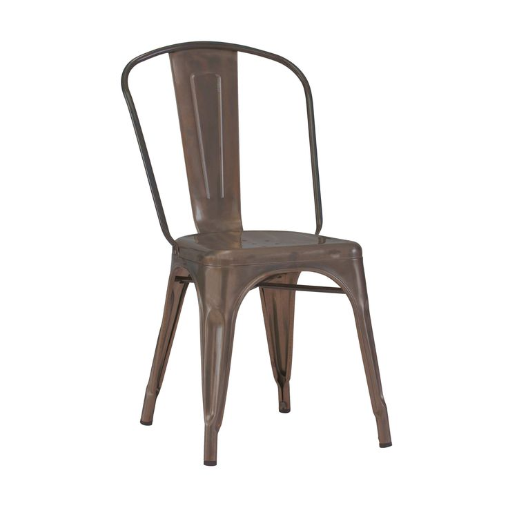 Dreux Stackable Rustic Matte Steel Side Chair (Set of 4)