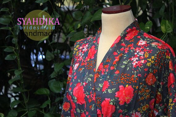 Perfect Gift Pure Cotton Crossover Kimono Robes floral by syahdika