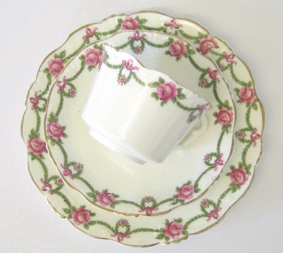 Vintage Tea Trio Collingwood China Pink Rose by TheWhistlingMan, £6.00
