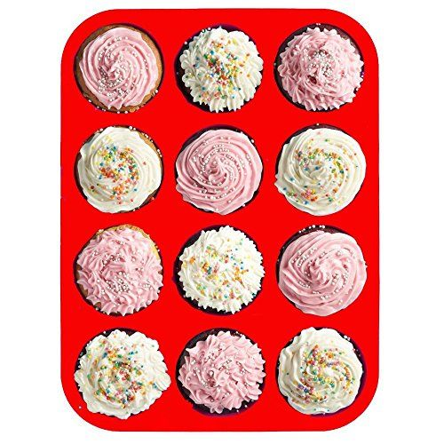 BakeWarePlus 12 Cups Silicone Muffin Pan and Cupcake Pan Maker Non - Stick Red