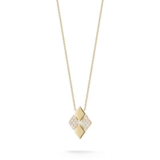 Delicate diamond and yellow gold mosaic frames come together in perfect harmony to create a chic, geometric diamond-shaped piece that adds effortless elegance to any look. Let this piece shine alone or pair with small complementary pieces for next-level glamour.