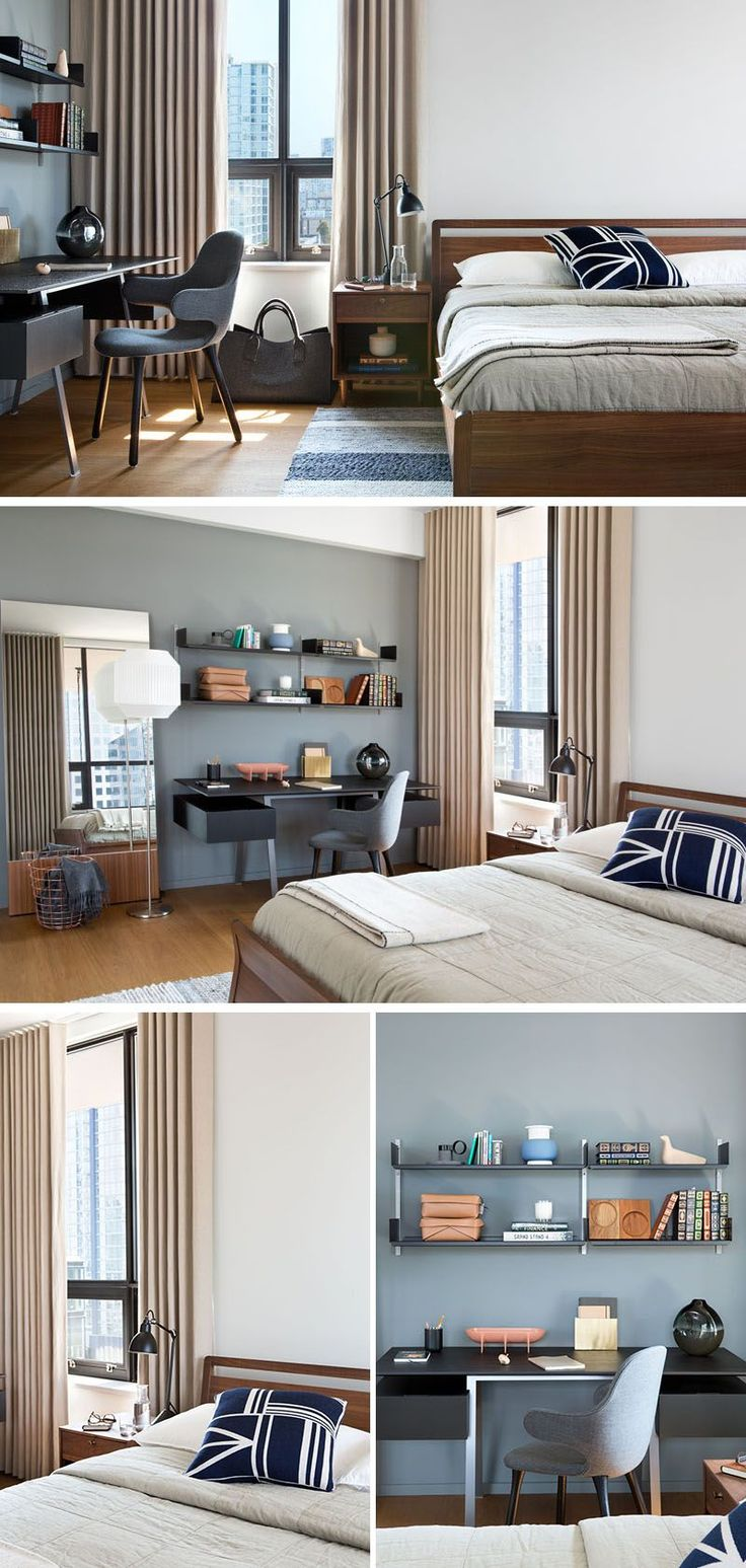 In this modern bedroom, a wood bed frame and side tables adds a touch of warmth to the room. Beside the bed, there's a a small home office area, with a desk and open shelving.