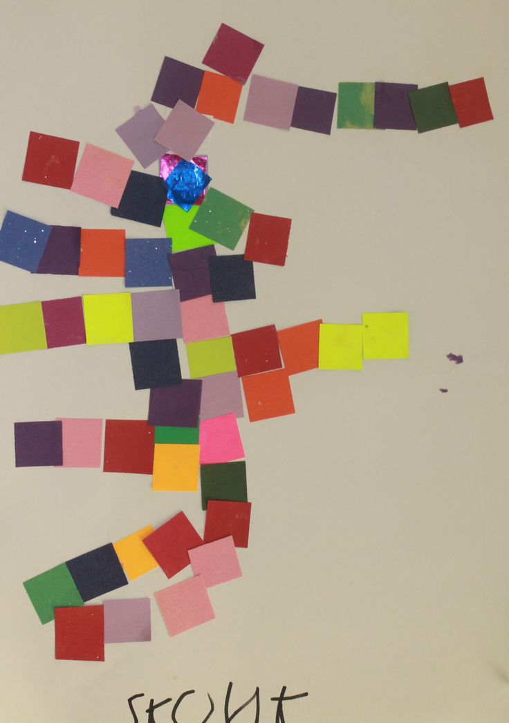 "After listening to a reading of Pezzettino (It. ""little piece"") by Leo Lionni and admiring his imaginary animals made from squares of color, Kindergartners embarked on inventing their own colorful, creative  works. www.independentdayschool.org"