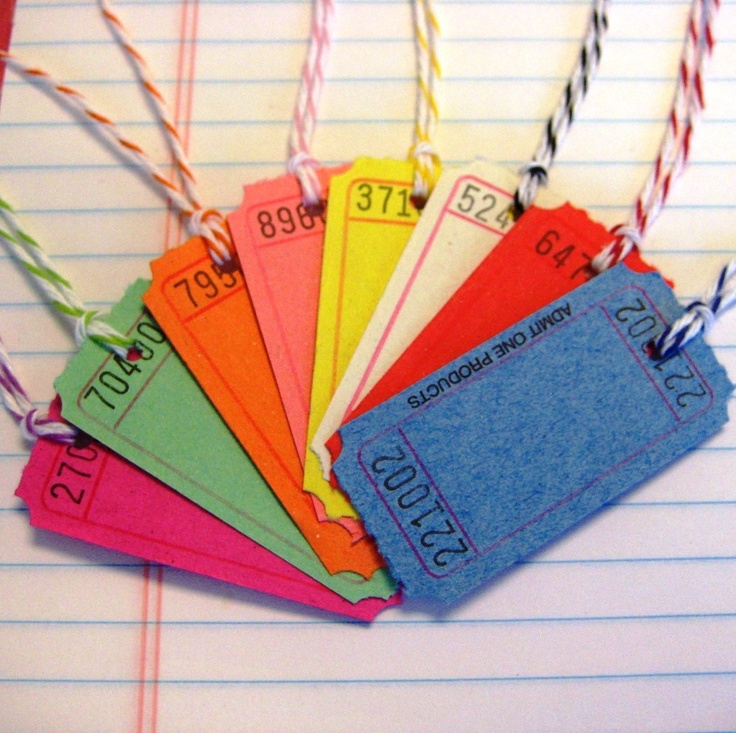 Tags Carnival Ticket with Divine Twine Bakers Twine Handmade. $20.00, via Etsy.