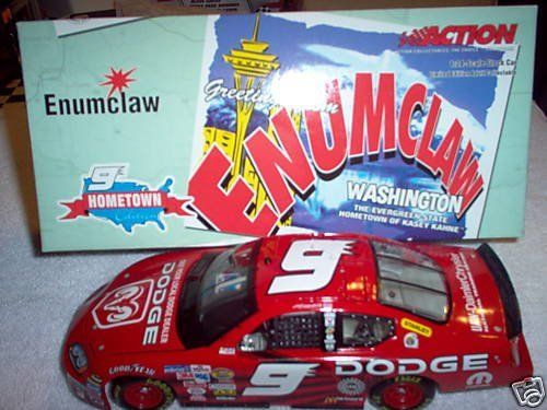 2005 Kasey Kahne #9 Dodge Dealers Hometown Edition Enumclaw 1/24 Scale Metal Diecast, Plastic Chassis Opening Hood, Poseable Wheels Limited Edition by Action Racing. $25.99. This is the primary paint scheme that Kahne drove to his 1st Victory in 2005. 200 https://www.fanprint.com/stores/nascar-?ref=5750