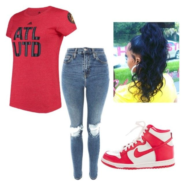 """""""Atlanta United game"""" by rodnecia ❤ liked on Polyvore featuring NIKE, Topshop and adidas"""
