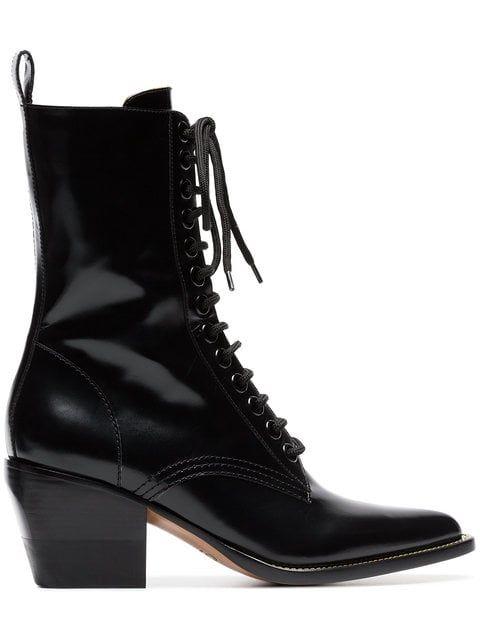 fc761d90633d Shop Chloé black 60 lace-up leather boots