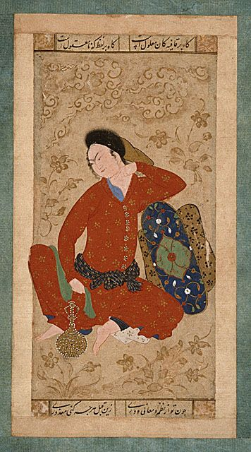 seated youth leaning on a bolster isfahan 1605