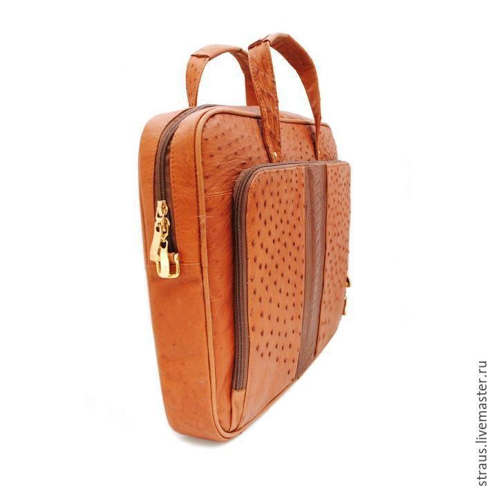 Купить Сумка для ноутбука из кожи страуса - рыжий, звериная расцветка, сумка для ноутбука, Страус