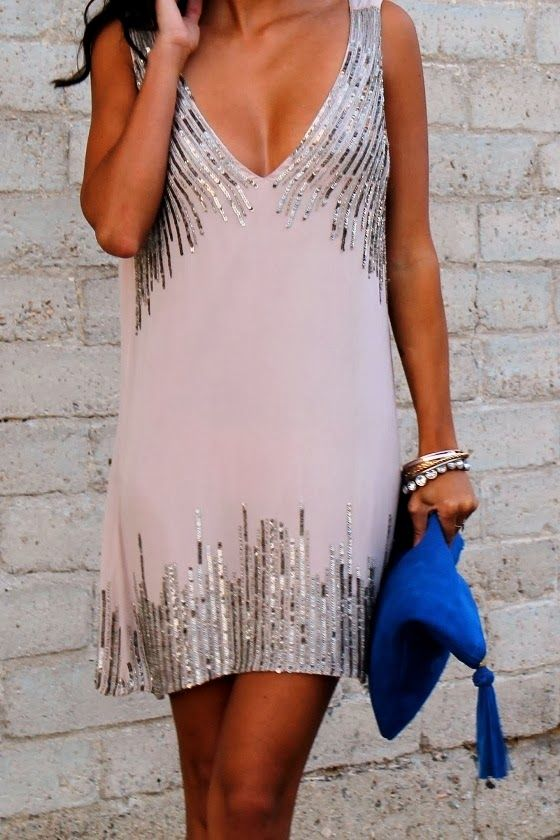 Sequin work Deep V-Neck Dress