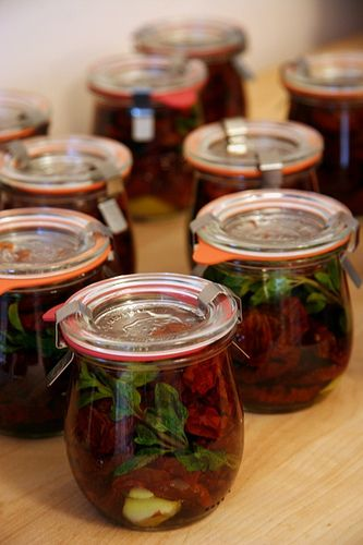 Great idea!  Home canned sun-dried tomatoes in olive oil.